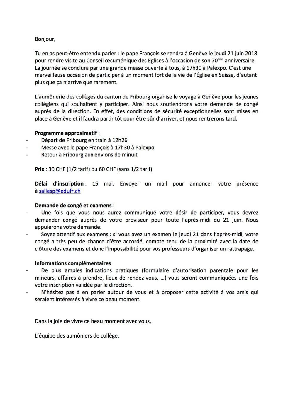 Mail aux collegiens Rencontre avec le Pape du 21 juin FRA - Copie